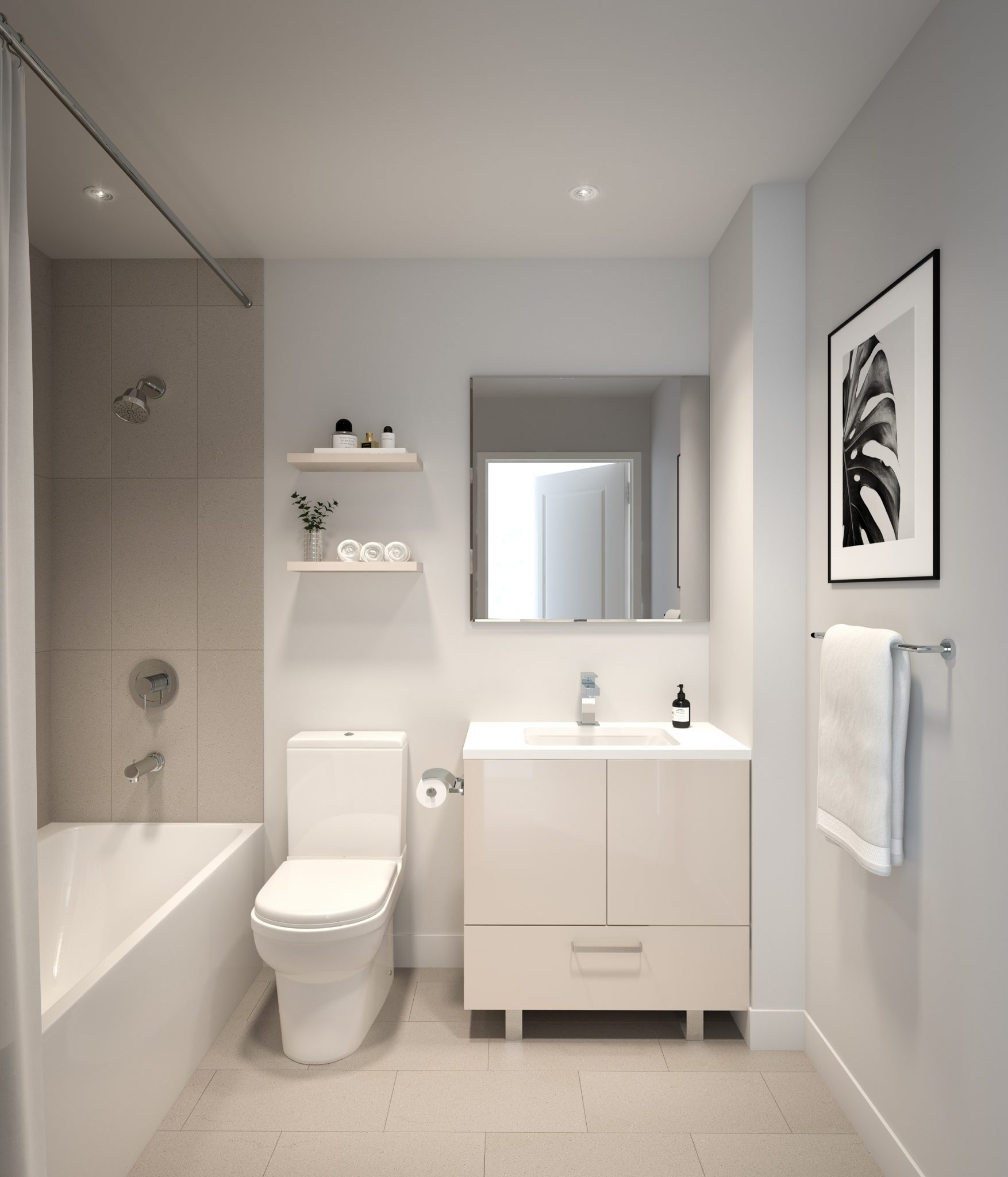 Image showing white bathroom, tub, and shower (as a result, hence, consequently, therefore, in conclusion seems like, maybe, probably, almost most of all)