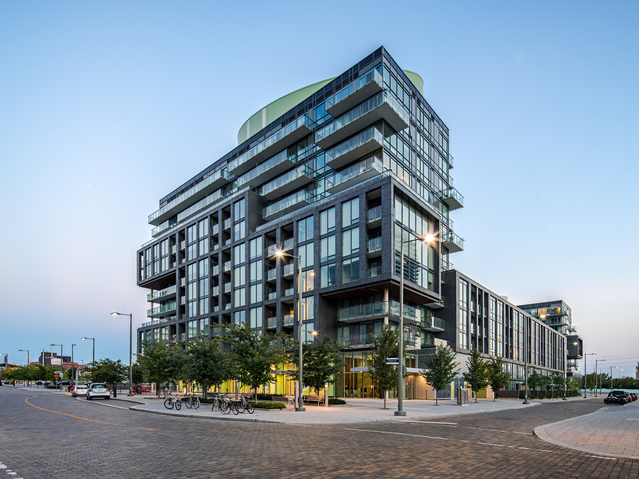 Photo of Canary District condos from street (Toronto)