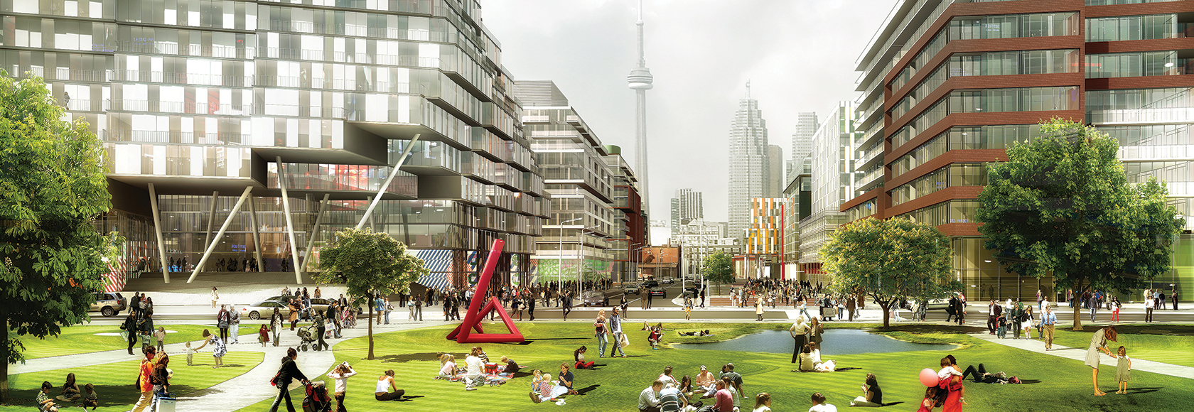 Artist's render of the Canary District, with CN Tower in background. Website: Wins Lai Toronto Real Estate Agent