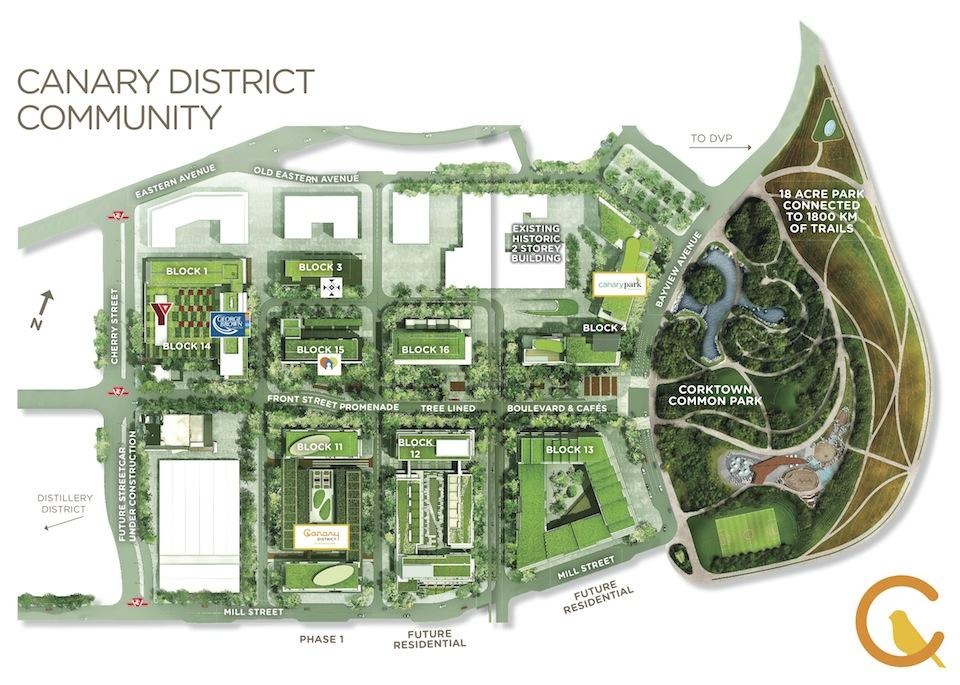 Site plan for Canary District condos