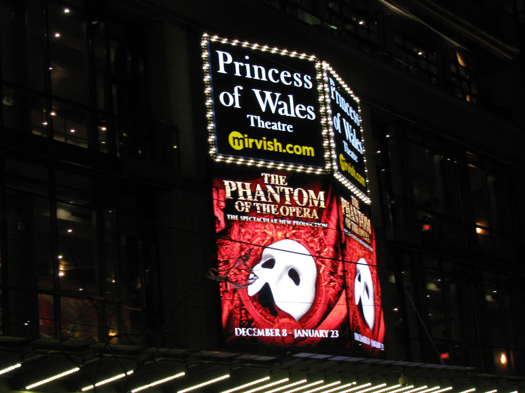 Princess of Wales Theatre showing Phantom of the Opera sign at night. And, first of all, also, another, furthermore, finally, in addition because, so, due to, while more. Consequently and therefore, in conclusion seems like, maybe, probably, almost most of all, most noteworthy, especially relevant.