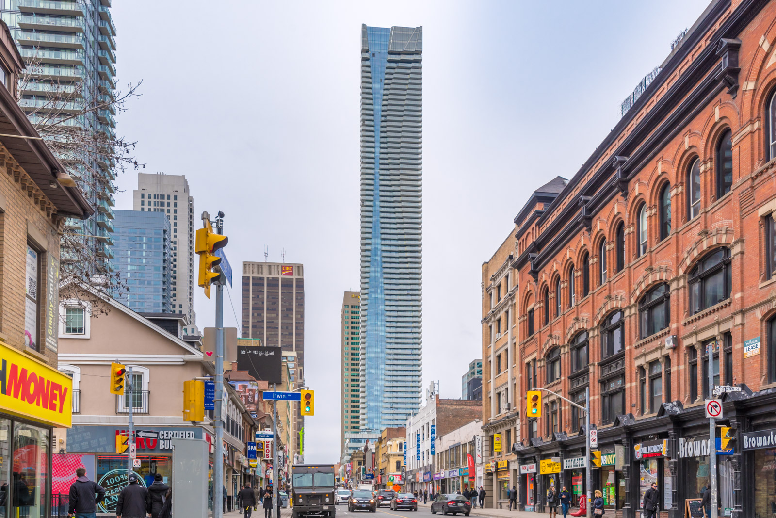 1 Bloor seen from a distance, showing shops, cars, buildings and more. Picture: Wins Lai, Toronto Real Estate Agent