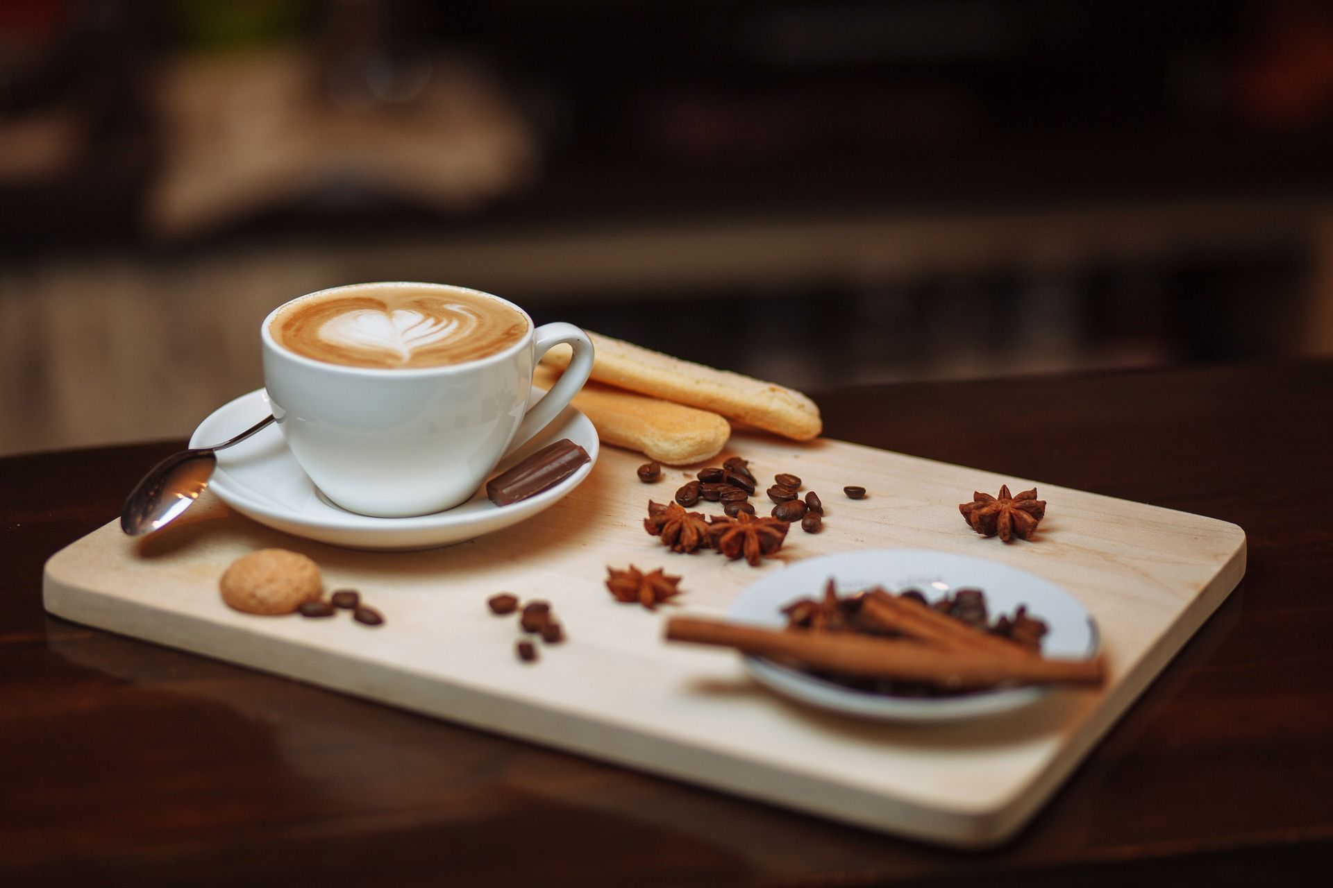 Pic of coffee and plate of food.