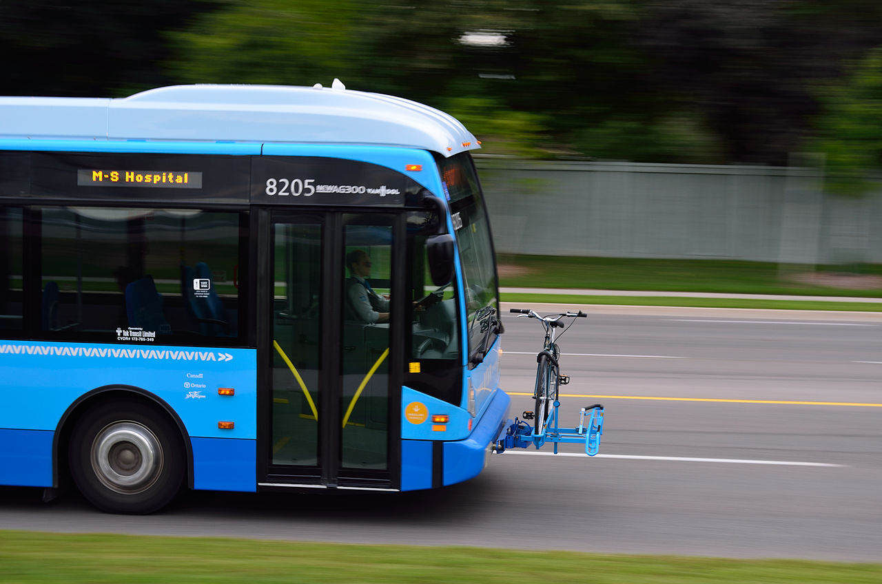 Viva bus image; the bus is blue and black and we can only see its front.