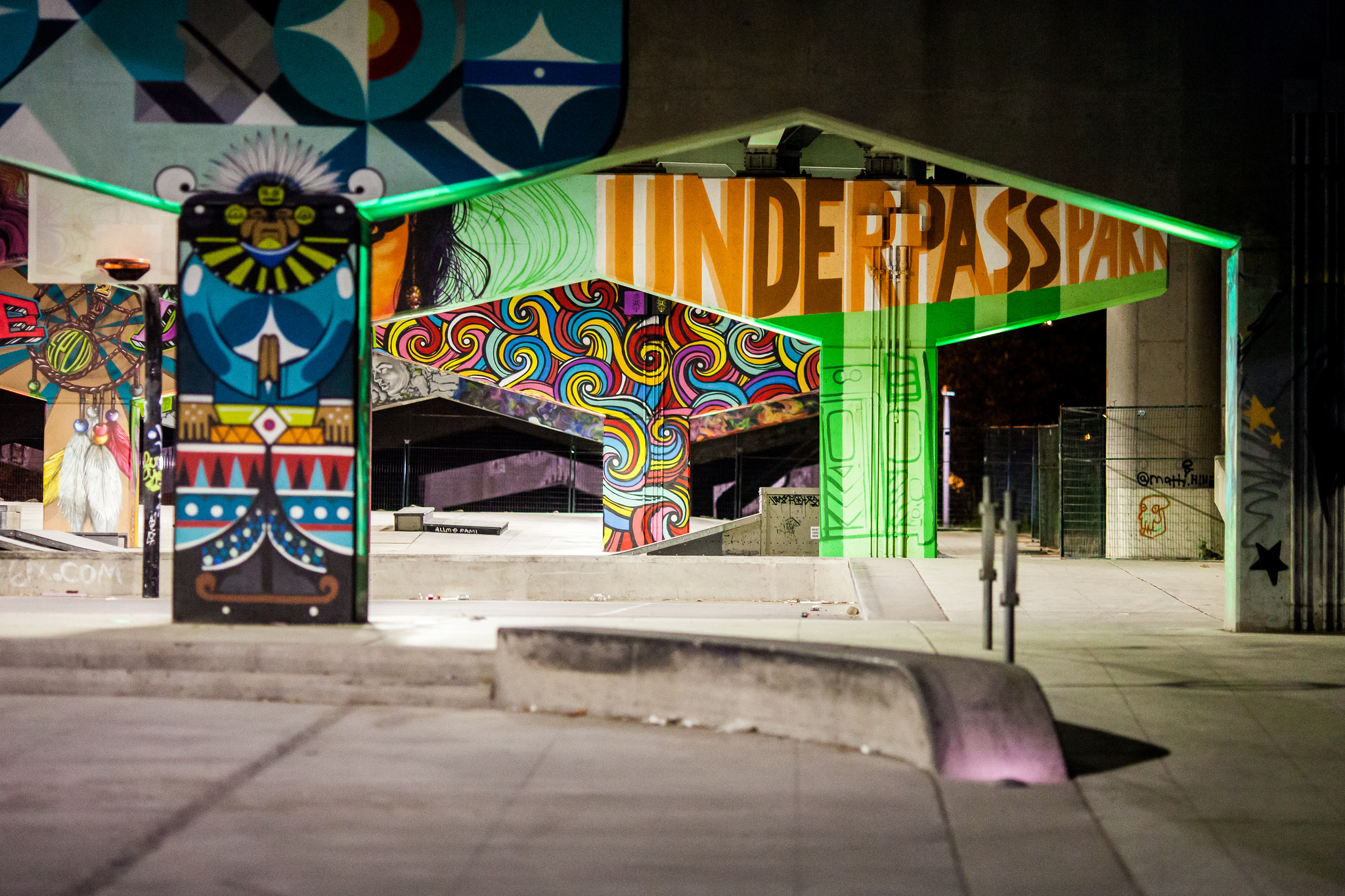 Image of UnderPass Park in Toronto and its graffiti walls.
