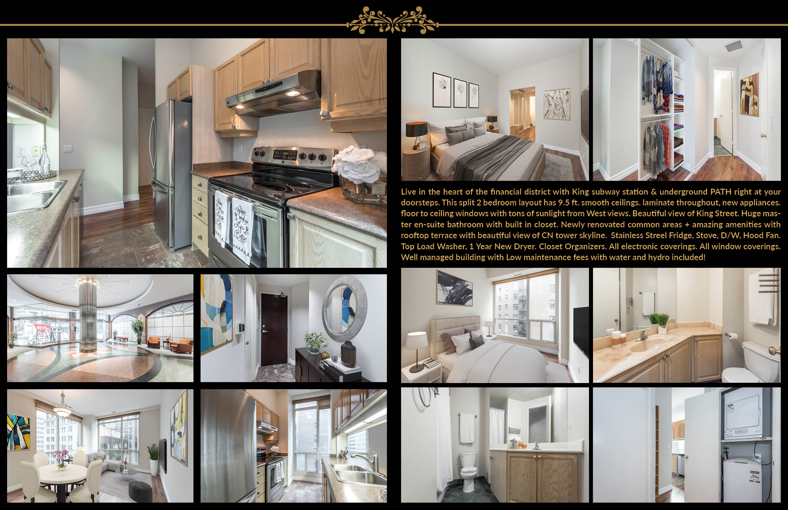 This is a mix of pictures showing the kitchen and bedroom and bathroom and so much more.