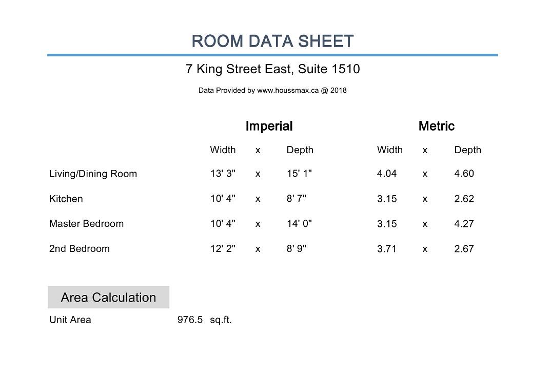 7 King Street East measurements.
