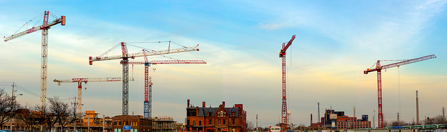 Photo of cranes and buildings in Corktown.