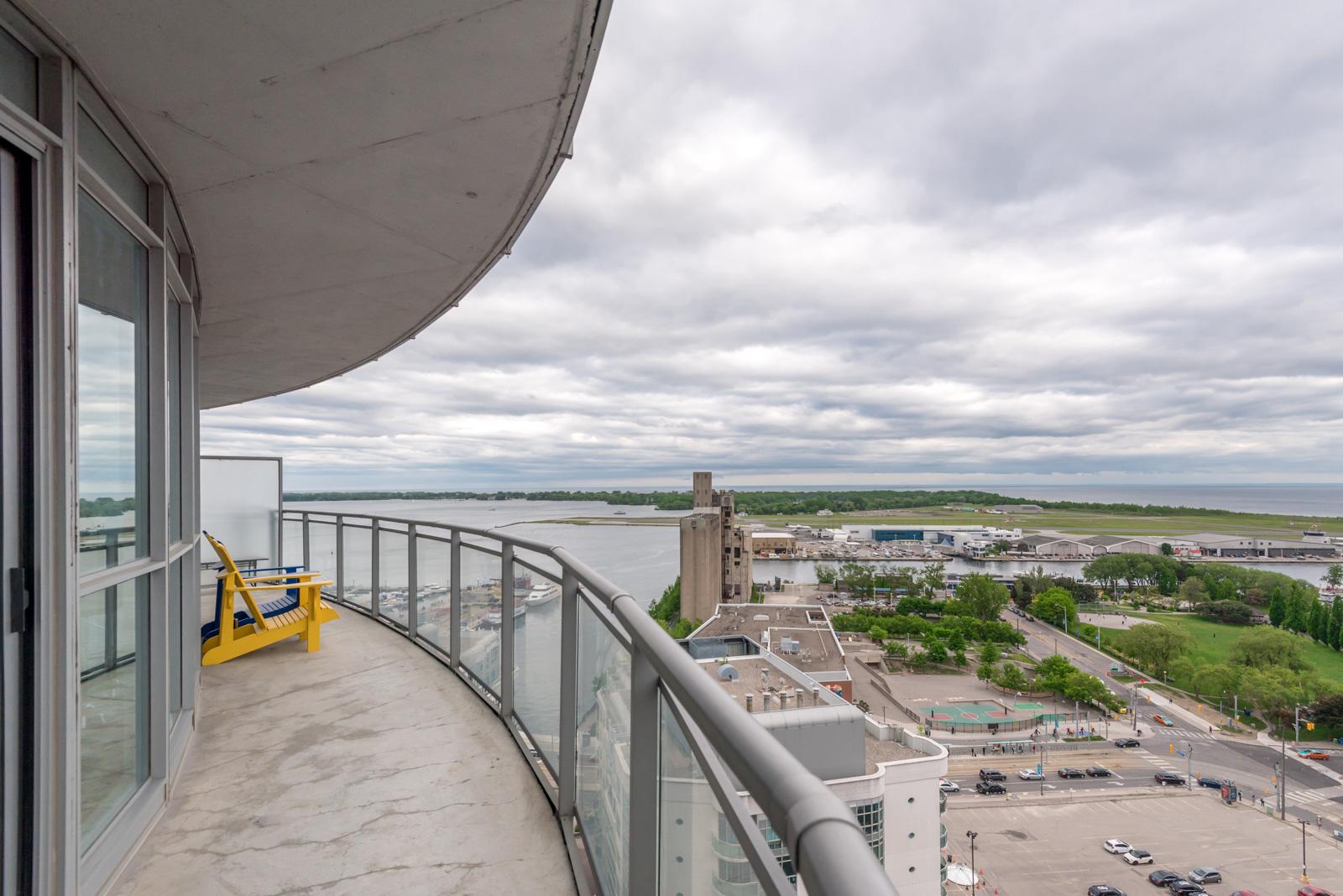 Image of balcony and Lake Ontario.