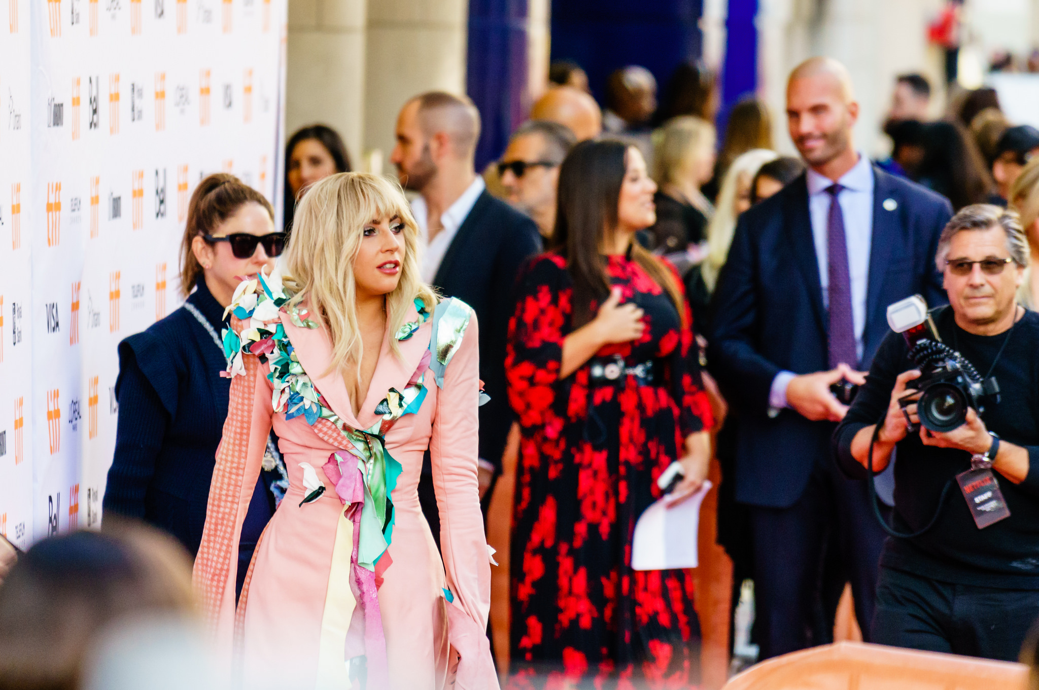An image of Lady Gaga and other people at TIFF on King Street West.