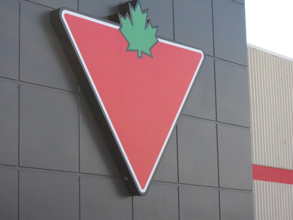 Image of Canadian Tire logo and front.