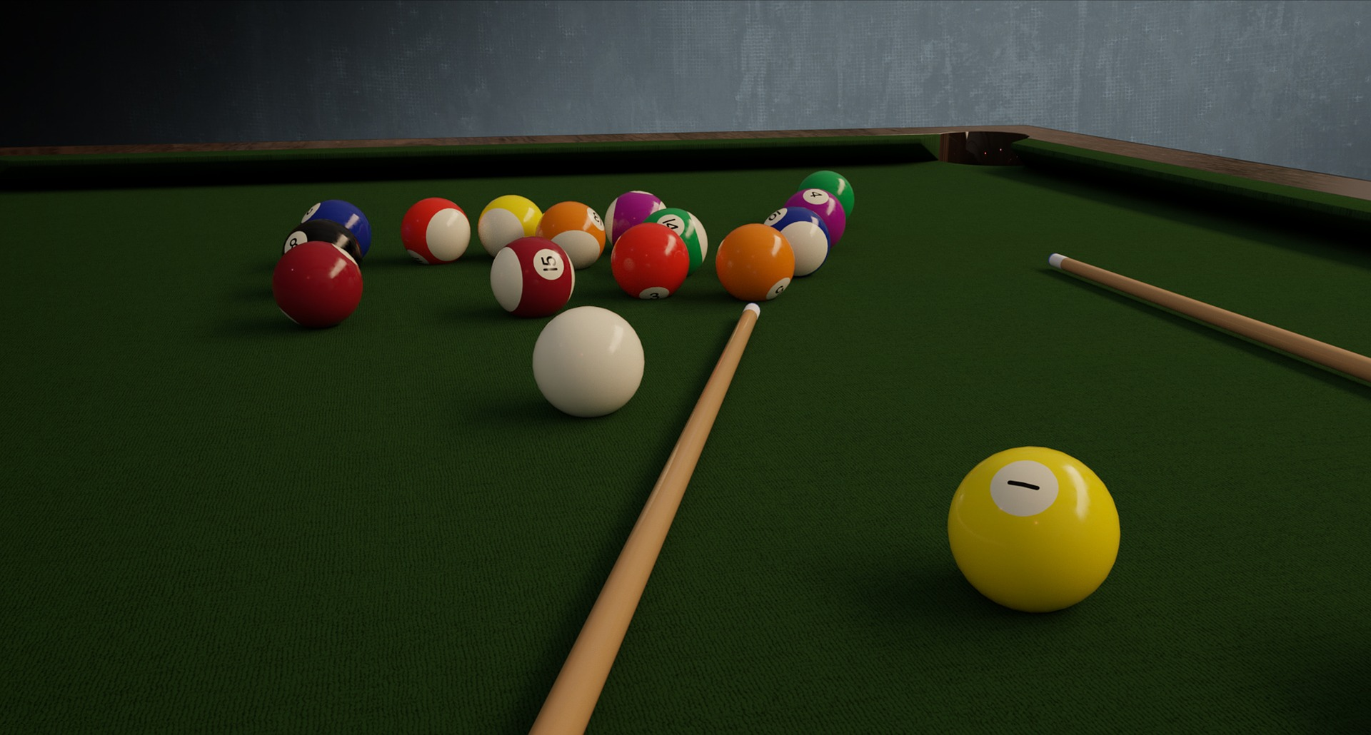 Photo of a pool table and balls and stick.