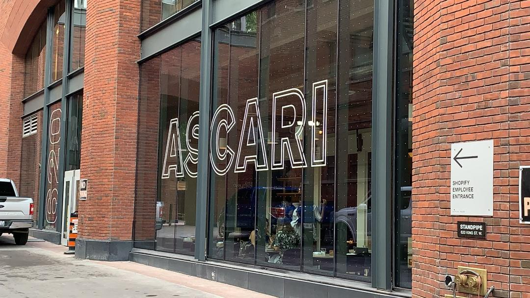 16-foot windows of Ascari restaurant in King West Toronto.