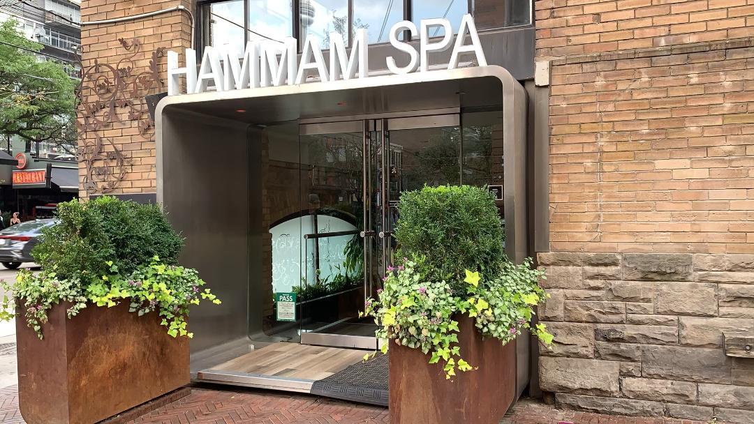 Exterior of Hamman Spa on King St W, Toronto.