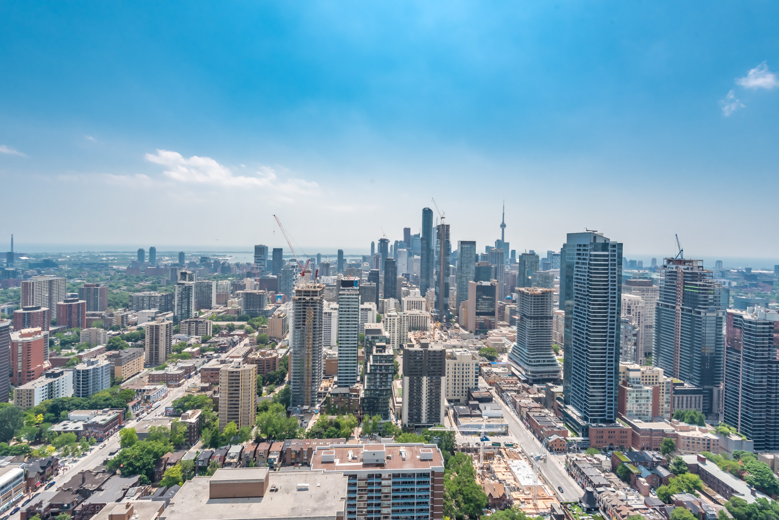 Sky view of downtown Toronto and construction.