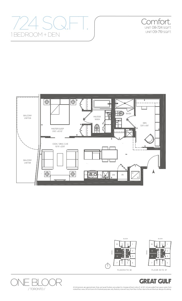 Floor plans for 1 Bloor Unit 3809