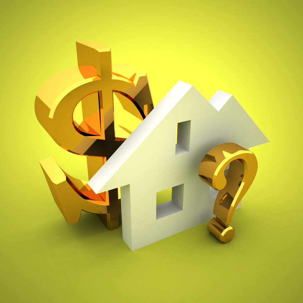 3D image of a house, gold dollar sign and question mark showing interest rates.