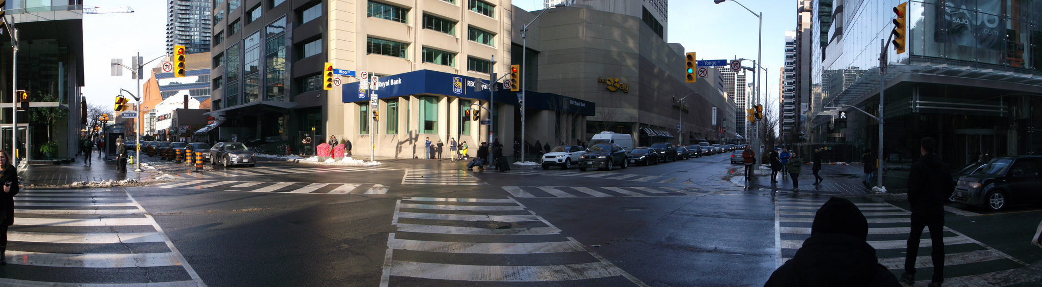 Street view of The Bay on Bloor and Yonge.