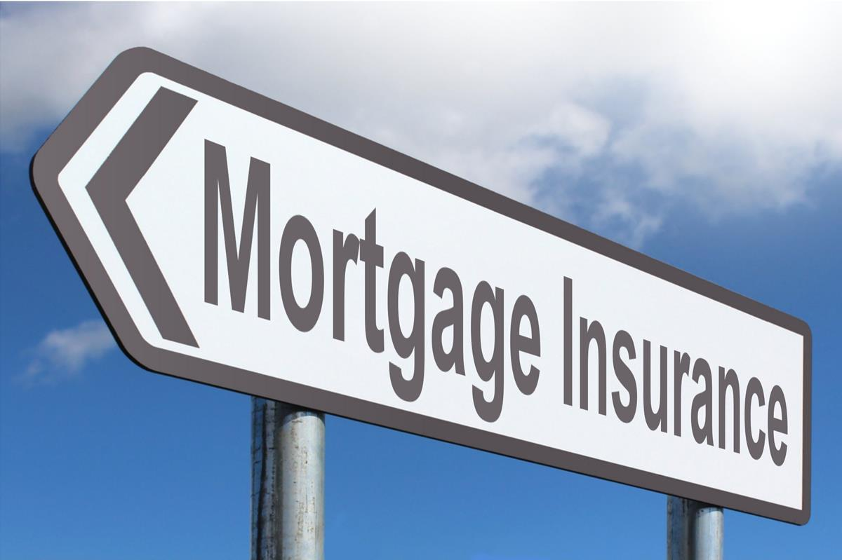 Mortgage insurance sign pointing left.
