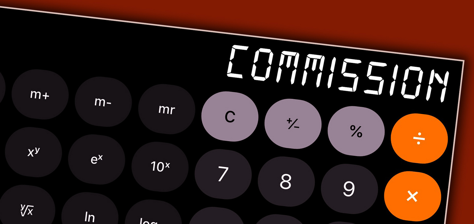 "Image of a calculation and the word ""commission"""