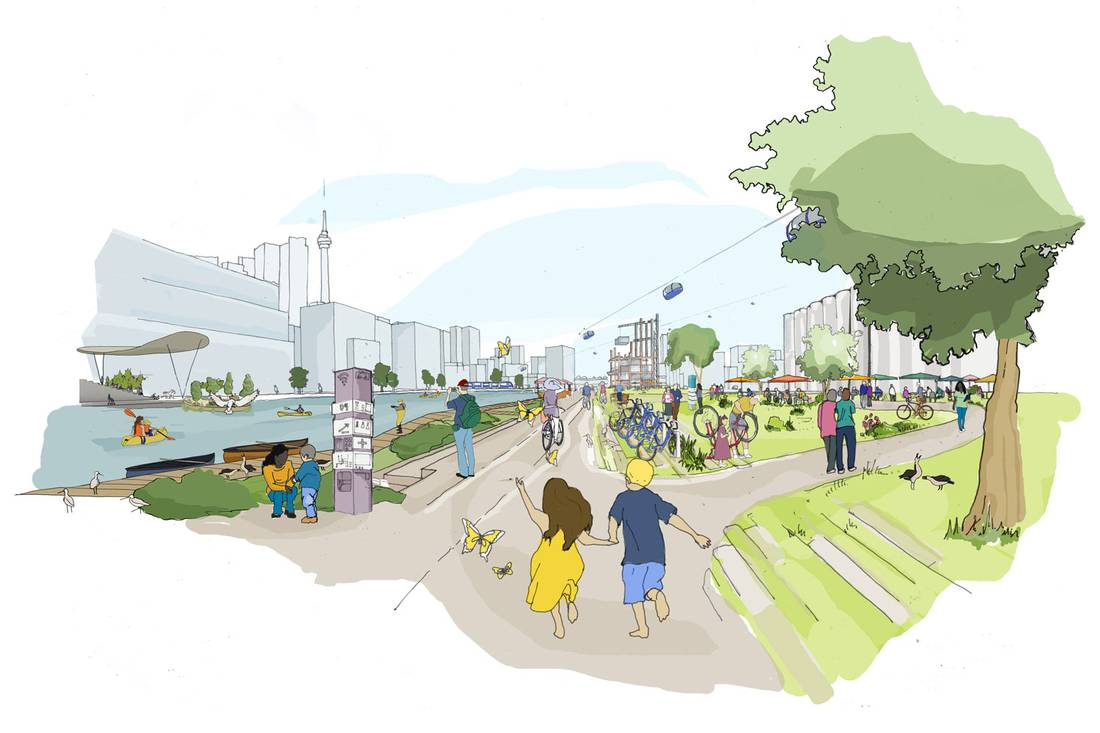 Drawing showing vision of Sidewalk Toronto and what it will look like. And, first of all, also, another, furthermore, finally, in addition because, so, due to, while, since and therefore last.