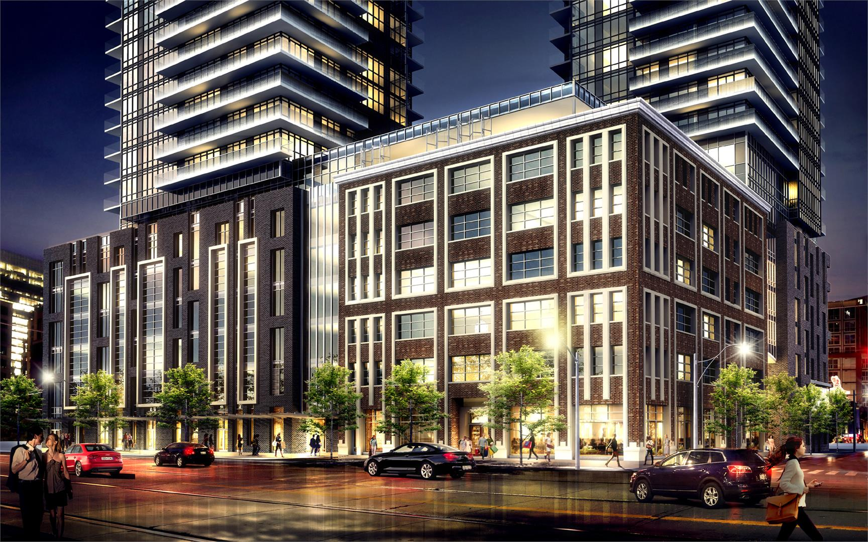 A look at 355 King Street West and its podium close up.
