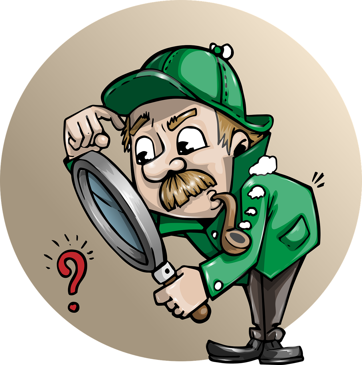Cartoon of Sherlock Holmes with magnifying glass looking at red question mark. Shows how a real estate broker has connections to home inspectors so they can check for any pot or cannabis related damage.