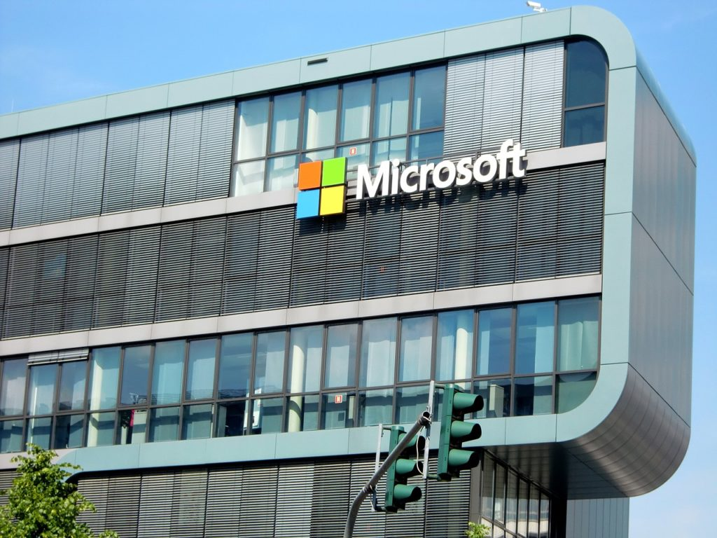 Microsoft building and logo