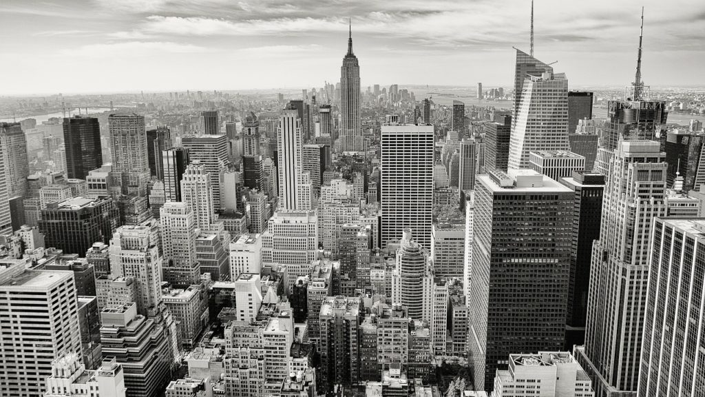 Black and white image of New York