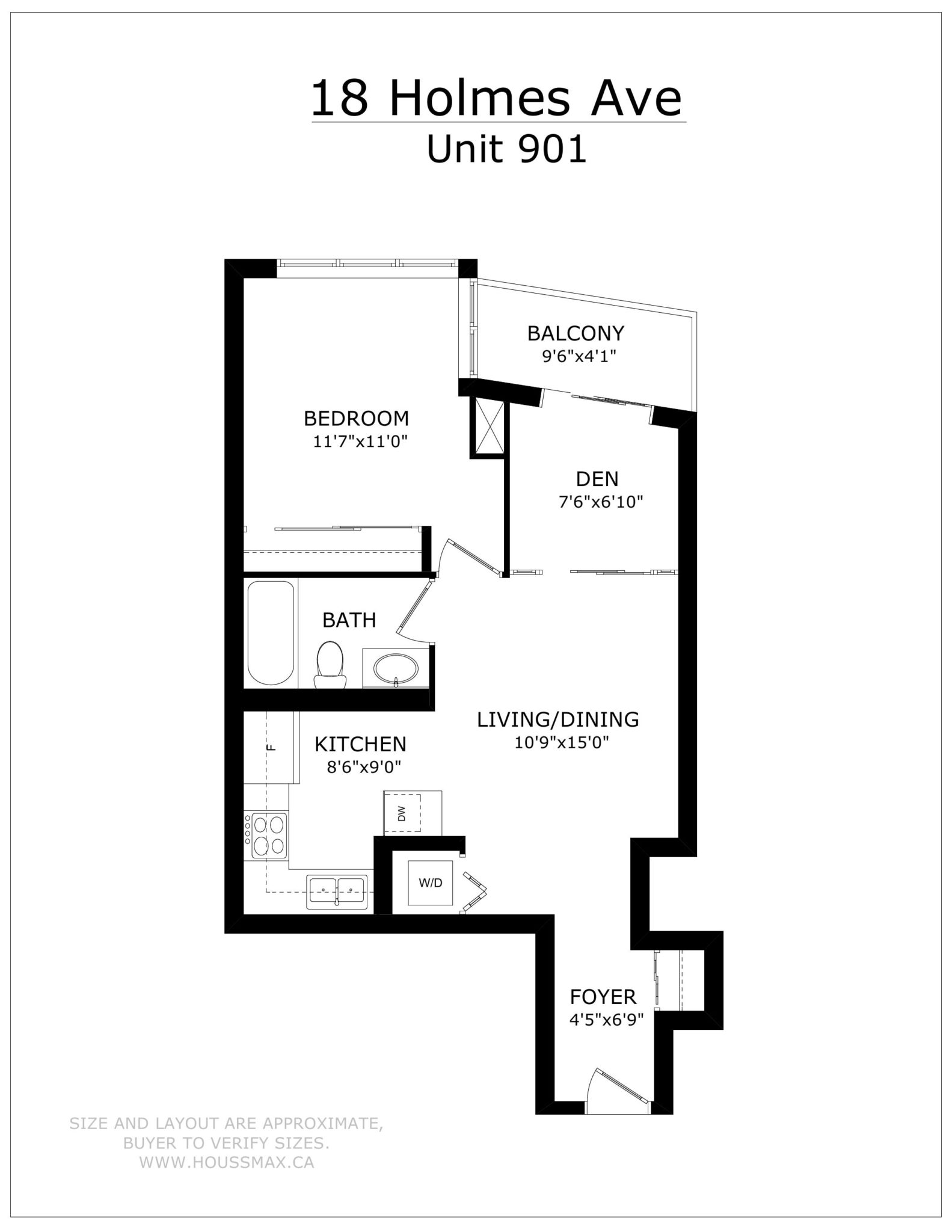 Floors plans and layout for 18 Holmes Avenue Unit 901