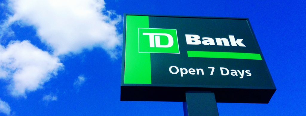 TD Canada Trust sign and blue sky