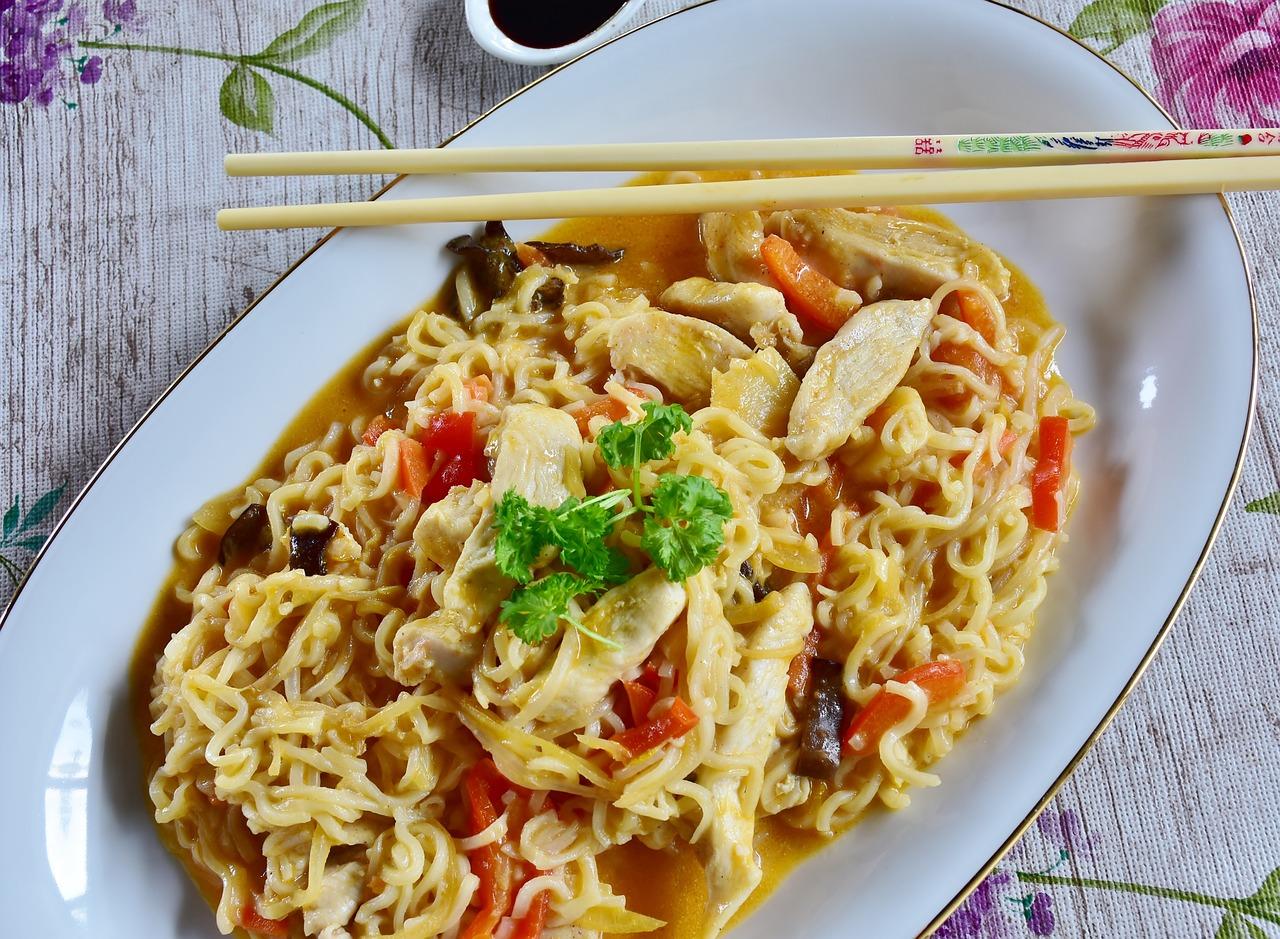 Asian food and chopsticks.