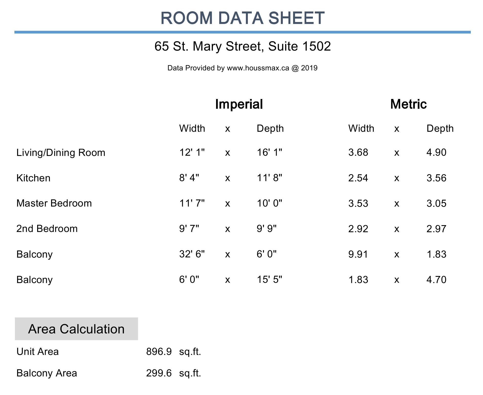 Measurements for 65 St Mary Street Unit 1502
