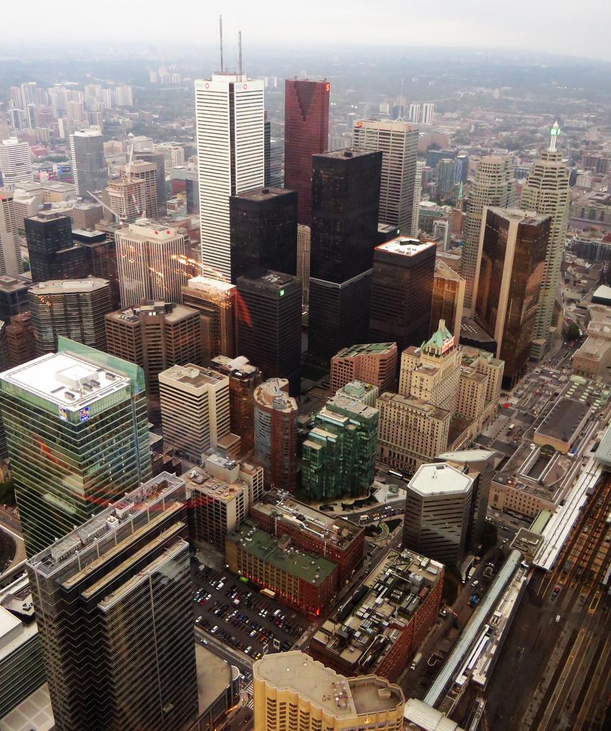 Sky view of Toronto's Bay Street Corridor