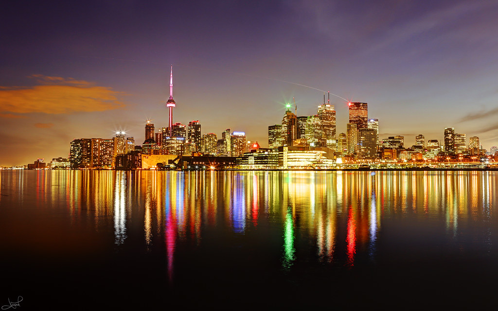 Night time view of the Toronto Waterfront and Lake Ontario.