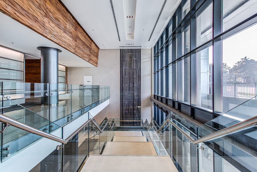 Staircase and waterfall at Arc Condos