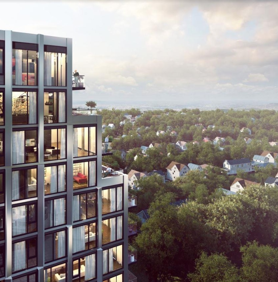 Side view of Bijou on Bloor and its units.