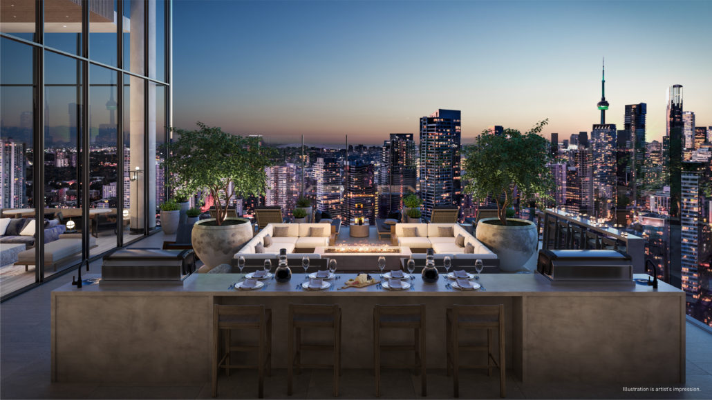3D render of rooftop deck at 55C Condos on 55 Charles St E Toronto.