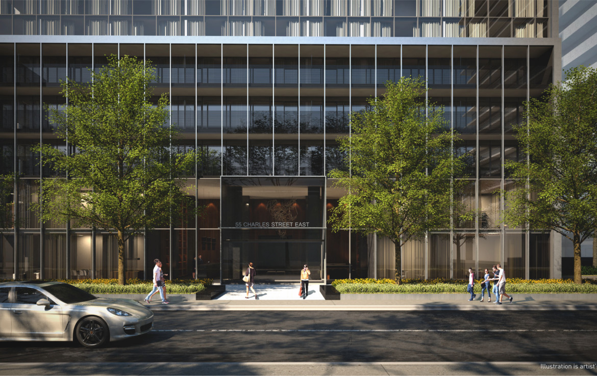 Podium and entrance of 55C Condos in 55 Charles St E Toronto