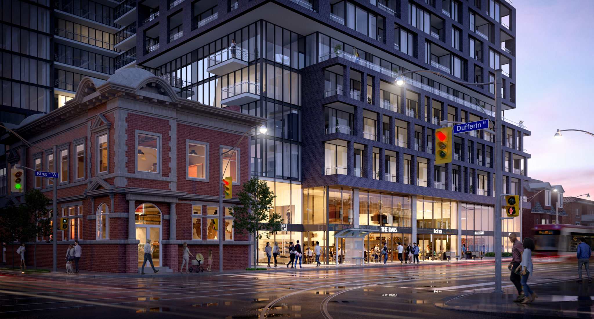 Another 3D image of XO Condos showing its location on King St W and Dufferin.