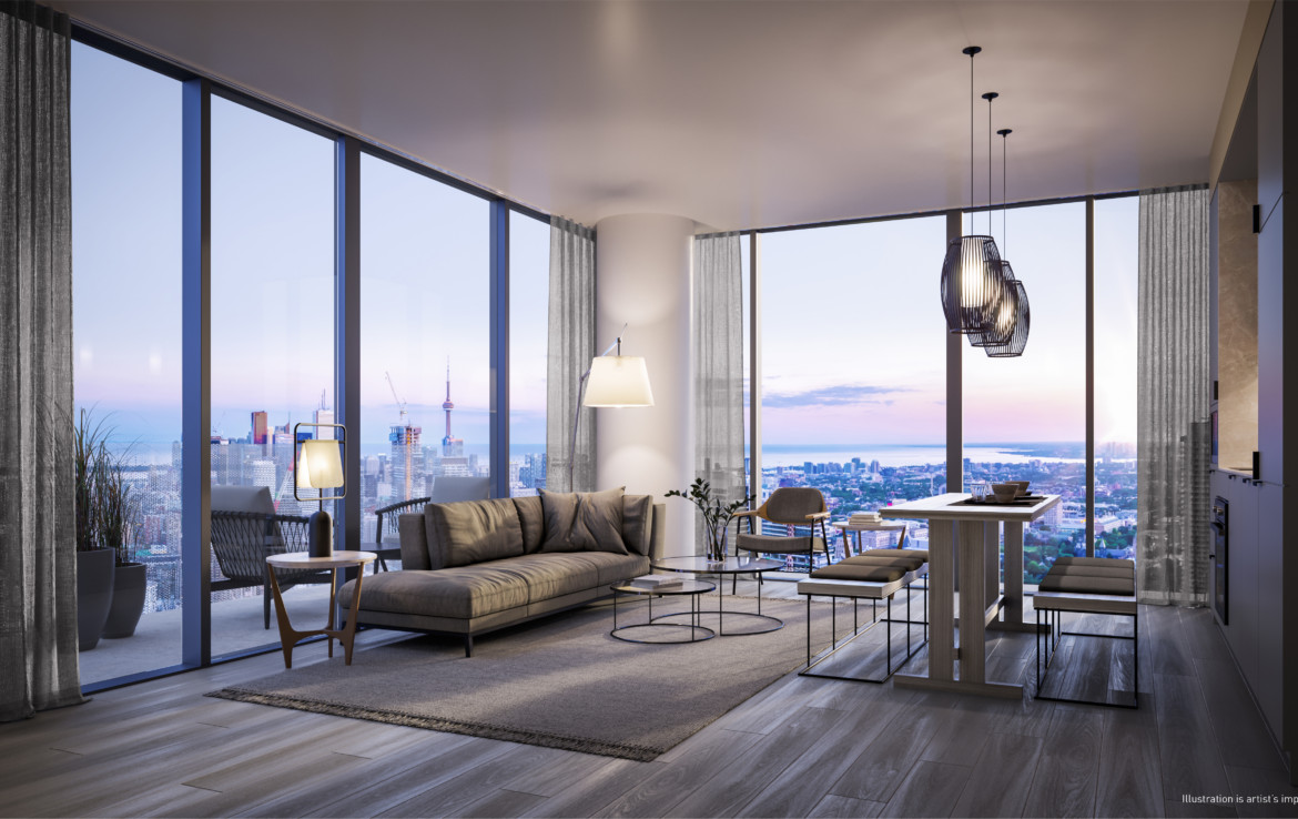 Render of living room interior of 55C Condos in 55 Charles St E Toronto,