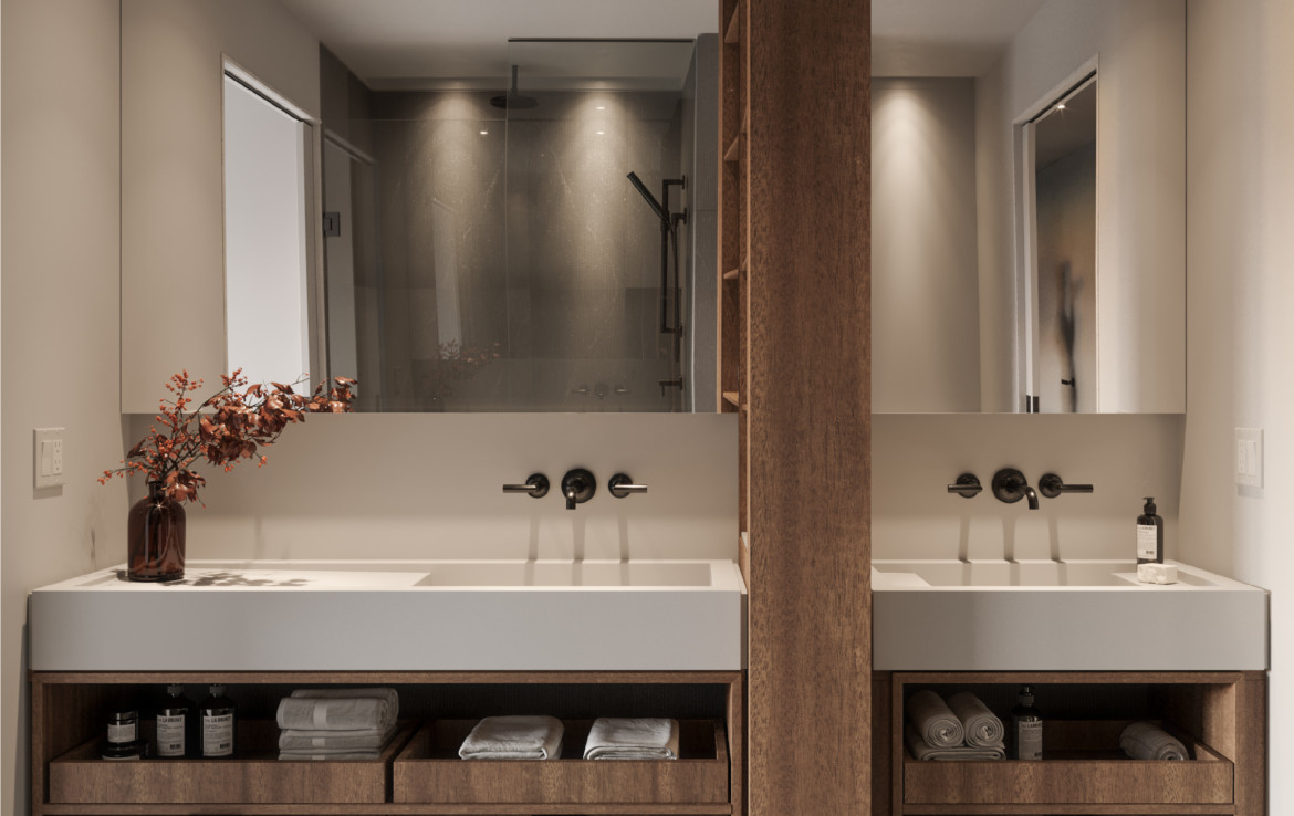 Bathroom with His and Her Sinks at 55C Condos on 55 Charles St E Toronto.