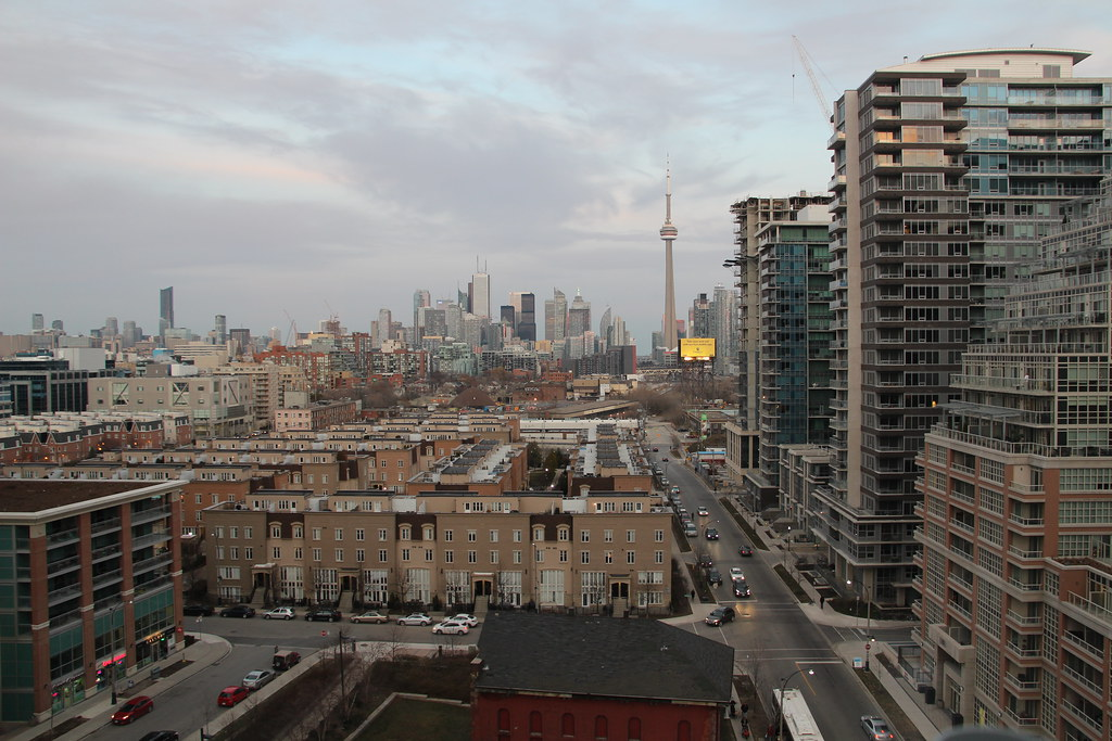 Aerial view of Liberty Village, Toronto and construction.