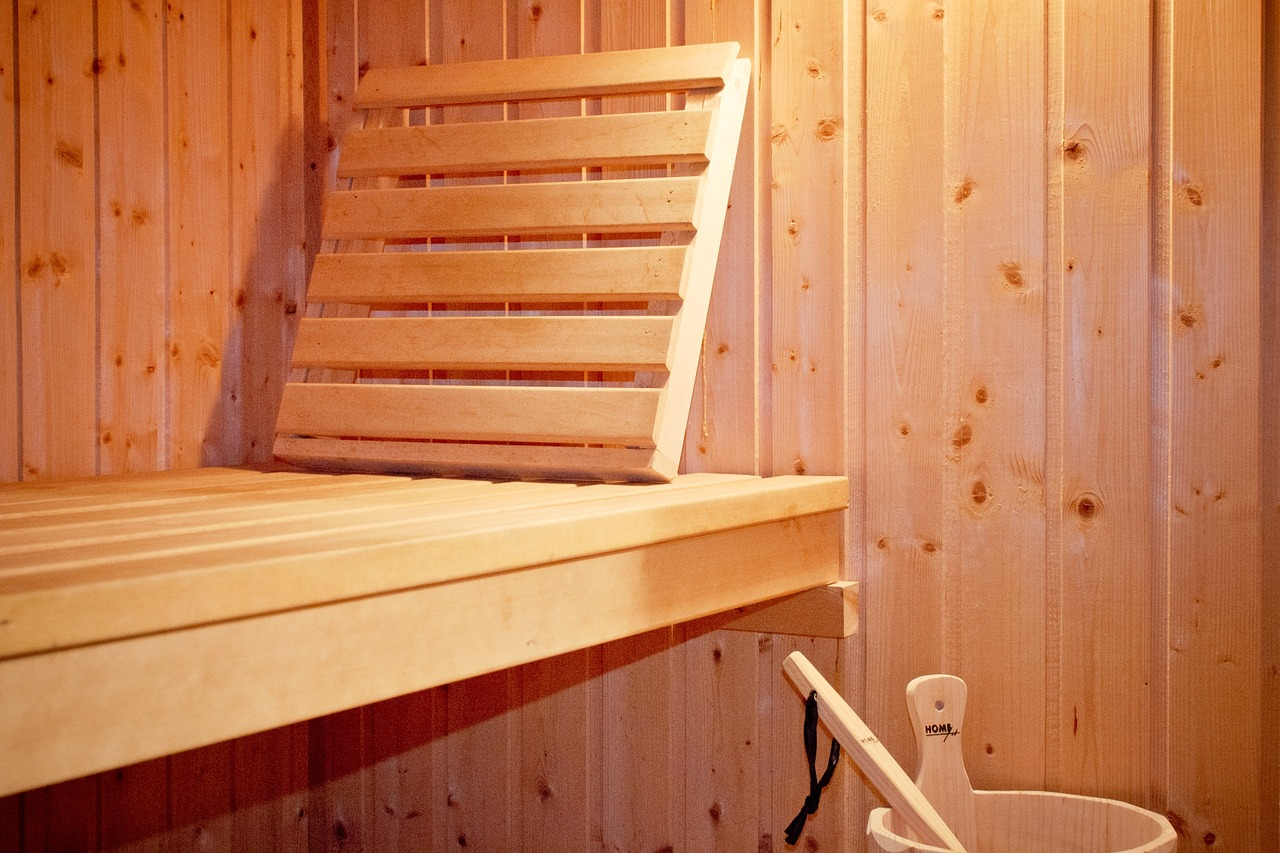 A sauna and its wooden chair.