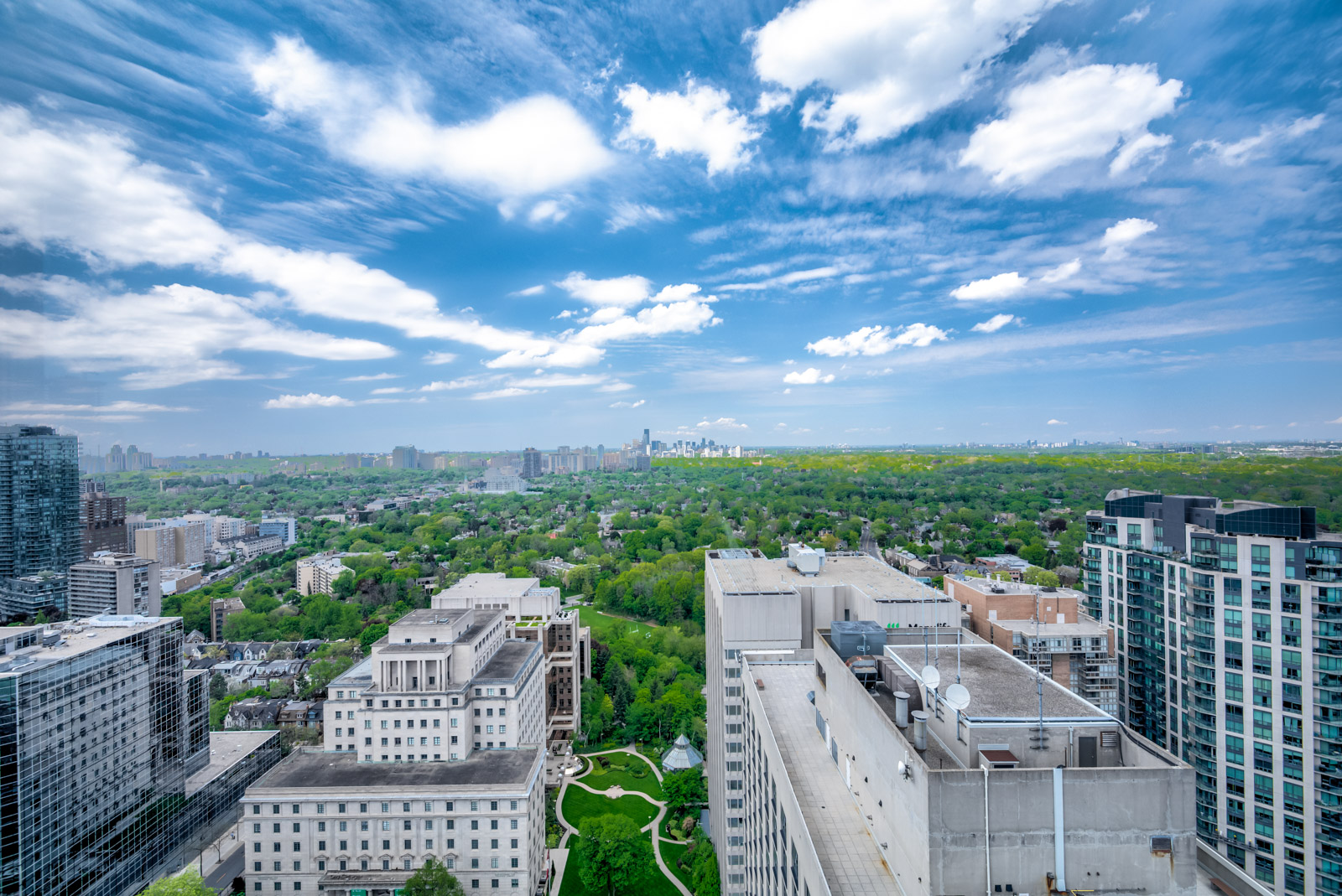 Balcony view of Rosedale Valley and Yorkville from 28 Ted Rogers Way Unit 3609.