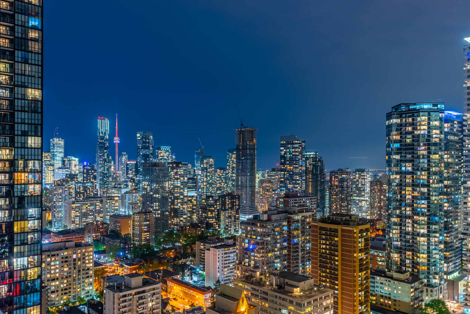 Night view of Toronto from 28 Ted Rogers Way Unit 3609 balcony.