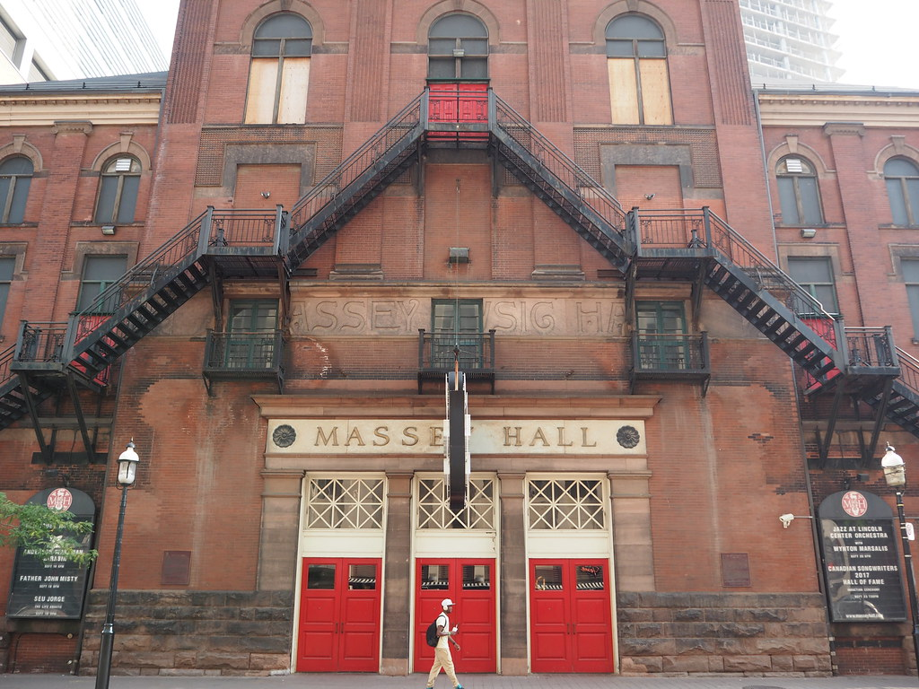 Massey Hall exterior in Toronto, Ontario.