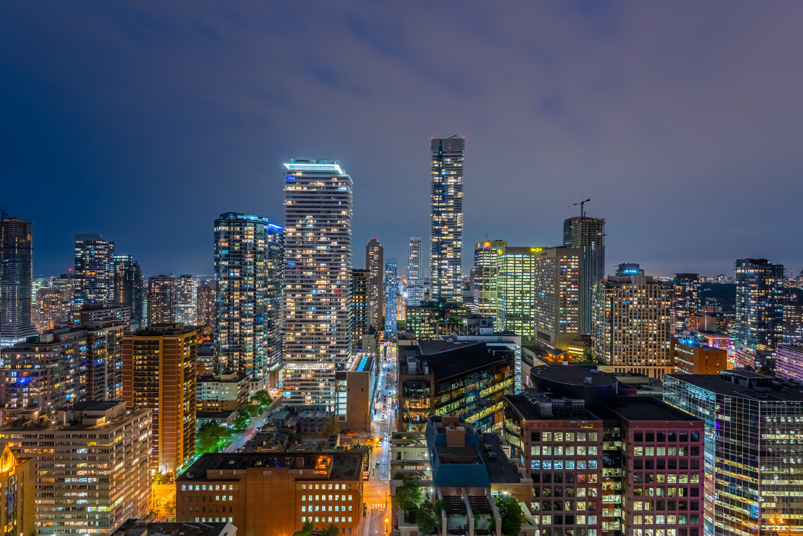 Night view of Toronto from balcony of 28 Ted Rogers Way Unit 3609.