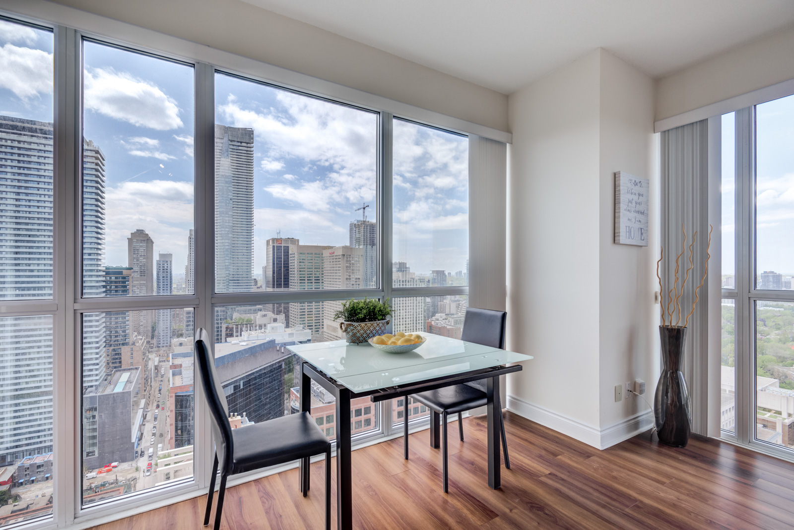 Large windows of dining room at 28 Ted Rogers Way Unit 3609.
