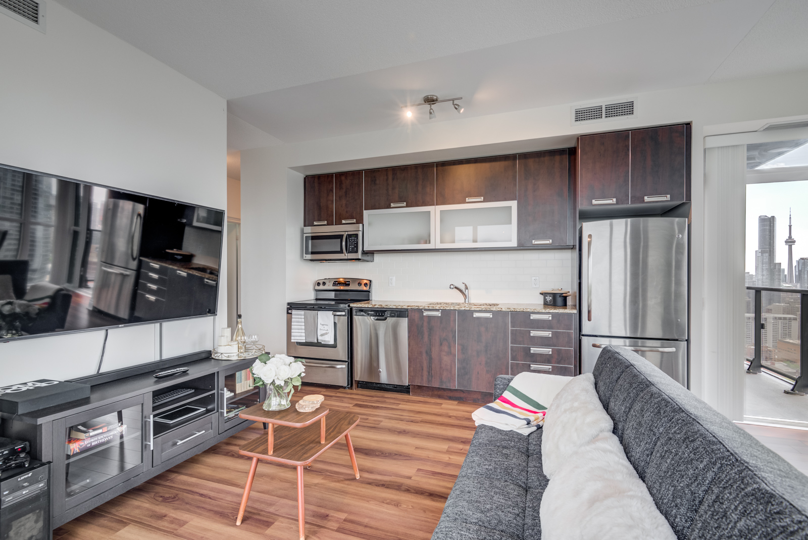 Full view of 28 Ted Rogers Way Unit 3609 kitchen.